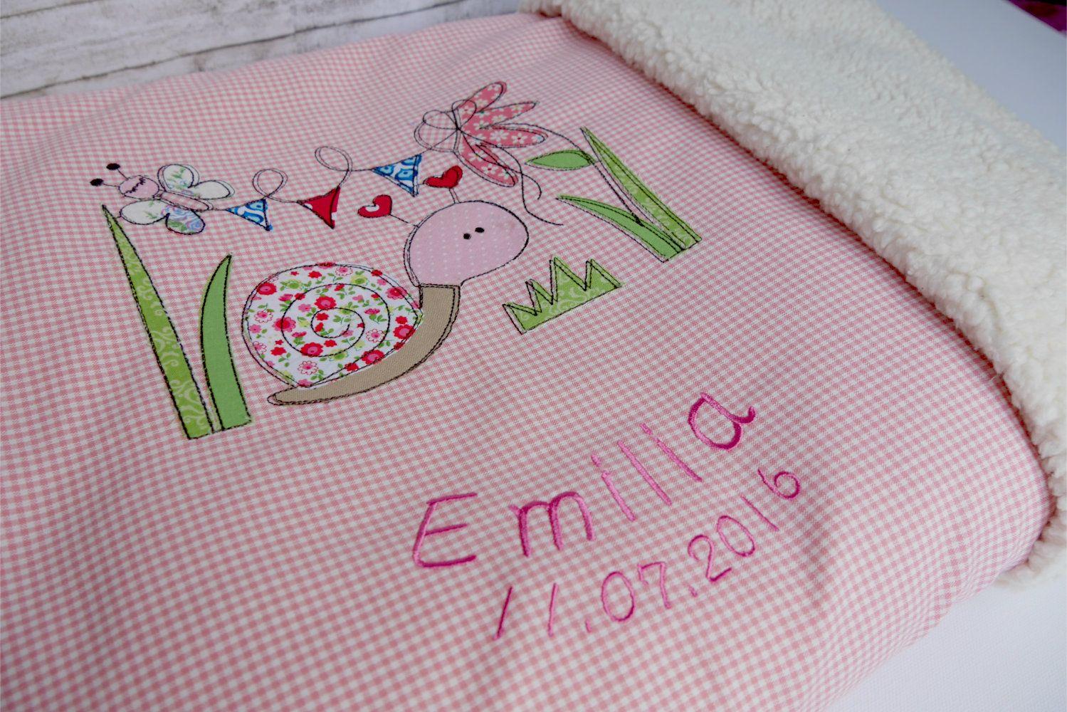 Süße Babydecke mit Schnecke für Mädchen - Biggis Design